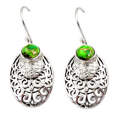 2.10cts green copper turquoise 925 sterling silver dangle earrings r36818