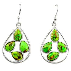 11.28cts green copper turquoise 925 sterling silver dangle earrings r37369