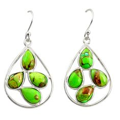 11.28cts green copper turquoise 925 sterling silver dangle earrings r37370