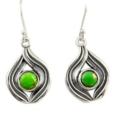 1.87cts green copper turquoise 925 sterling silver dangle earrings r42068