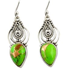 7.34cts green copper turquoise 925 sterling silver dangle earrings r42384