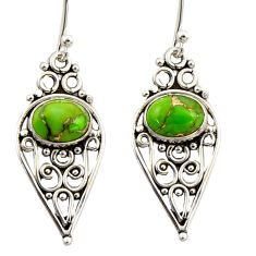 3.80cts green copper turquoise 925 sterling silver dangle earrings r42386