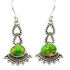 3.78cts green copper turquoise 925 sterling silver dangle earrings r42401