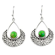 1.90cts green copper turquoise 925 sterling silver dangle earrings r42923
