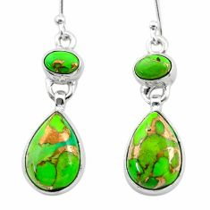 10.43cts green copper turquoise 925 sterling silver dangle earrings t19523