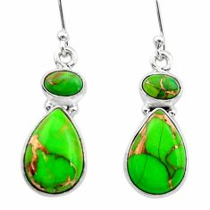 9.86cts green copper turquoise 925 sterling silver dangle earrings t19569