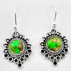 2.55cts green copper turquoise 925 sterling silver dangle earrings t26903