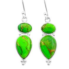 8.01cts green copper turquoise 925 sterling silver dangle earrings t33992