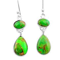7.36cts green copper turquoise 925 sterling silver dangle earrings t33996