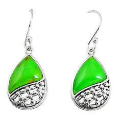 5.54cts green copper turquoise 925 sterling silver earrings jewelry c25974