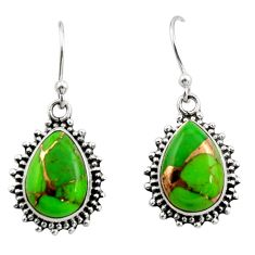 10.37cts green copper turquoise 925 sterling silver earrings jewelry r26583