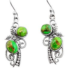 4.70cts green copper turquoise 925 sterling silver earrings jewelry r26590