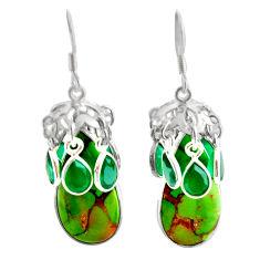 opper turquoise chalcedony 925 silver dangle earrings d39674