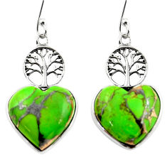 11.91cts green copper turquoise heart 925 silver tree of life earrings r46801