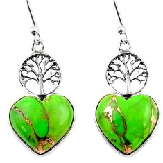 11.18cts green copper turquoise heart 925 silver tree of life earrings r46802