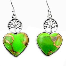 9.87cts green copper turquoise heart 925 silver tree of life earrings r46803