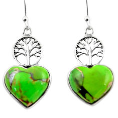 9.41cts green copper turquoise heart 925 silver tree of life earrings r46805
