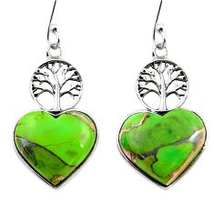 9.82cts green copper turquoise heart 925 silver tree of life earrings r46806