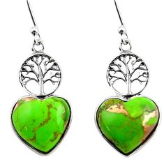 9.41cts green copper turquoise heart 925 silver tree of life earrings r46807
