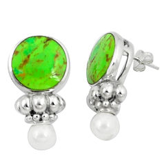 14.20cts green copper turquoise pearl 925 sterling silver earrings c11023