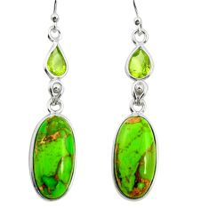 16.07cts green copper turquoise peridot 925 silver dangle earrings r26103