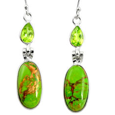 15.34cts green copper turquoise peridot 925 silver dangle earrings r26121