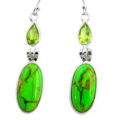 14.30cts green copper turquoise peridot 925 silver dangle earrings r26122