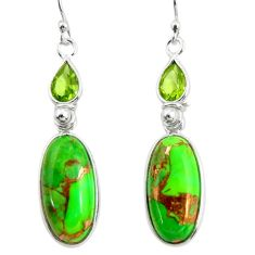 16.13cts green copper turquoise peridot 925 silver dangle earrings r26123