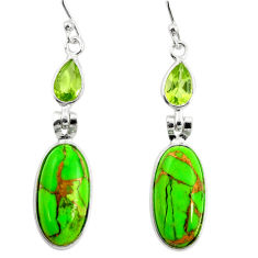 14.91cts green copper turquoise peridot 925 silver dangle earrings r26126