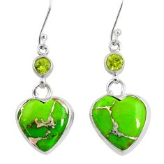 Clearance Sale- 17.22cts green copper turquoise peridot 925 silver dangle heart earrings d39501