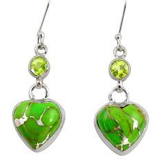 17.22cts green copper turquoise peridot 925 silver dangle heart earrings d39502