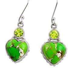 Clearance Sale- 13.36cts green copper turquoise peridot 925 silver dangle heart earrings d39503