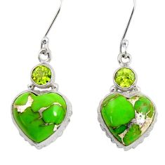 Clearance Sale- 14.99cts green copper turquoise peridot 925 silver dangle heart earrings d39505