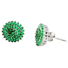 3.65cts green emerald (lab) 925 sterling silver stud earrings jewelry c9643