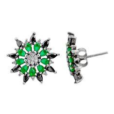4.89cts green emerald (lab) topaz 925 silver stud earrings jewelry c9598