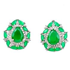 11.27cts green emerald (lab) topaz 925 sterling silver earrings jewelry c26043