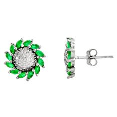 3.50cts green emerald (lab) topaz 925 sterling silver earrings jewelry c9302