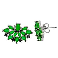 5.63cts green emerald (lab) topaz 925 sterling silver stud earrings c9205