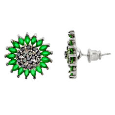 6.59cts green emerald (lab) topaz 925 sterling silver stud earrings c9219