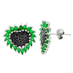 4.28cts green emerald (lab) topaz 925 sterling silver stud earrings c9221