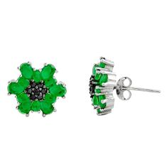 7.50cts green emerald (lab) topaz 925 sterling silver stud earrings c9222