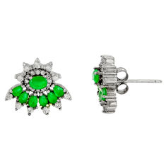 5.24cts green emerald (lab) topaz 925 sterling silver stud earrings c9266