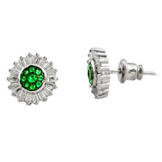 5.54cts green emerald (lab) topaz 925 sterling silver stud earrings c9271