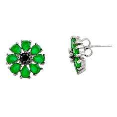 4.85cts green emerald (lab) topaz 925 sterling silver stud earrings c9285