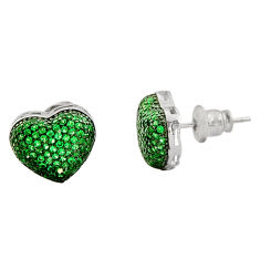 4.34cts green emerald (lab) topaz 925 sterling silver stud earrings c9294