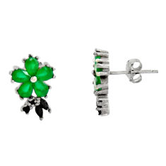 5.08cts green emerald (lab) topaz 925 sterling silver stud earrings c9321