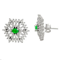3.62cts green emerald (lab) topaz 925 sterling silver stud earrings c9342