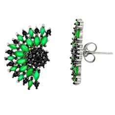 5.52cts green emerald (lab) topaz 925 sterling silver stud earrings c9356