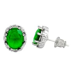 7.25cts green emerald (lab) topaz 925 sterling silver stud earrings c9478