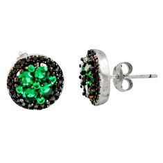 4.22cts green emerald (lab) topaz 925 sterling silver stud earrings c9493